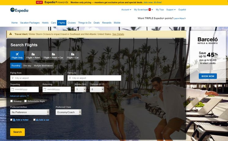Expedia Travel Website