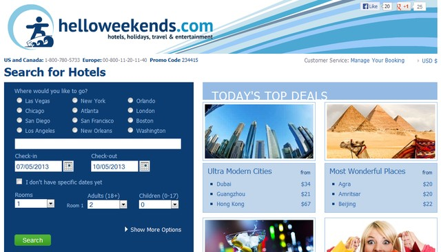 Helloweekends Travel Website