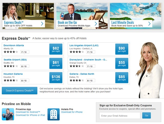 Priceline Travel Website