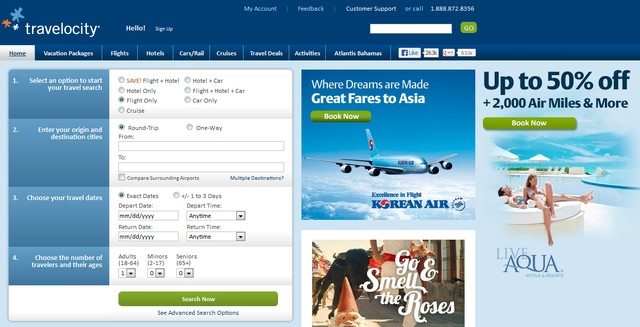 Travelocity Travel Website